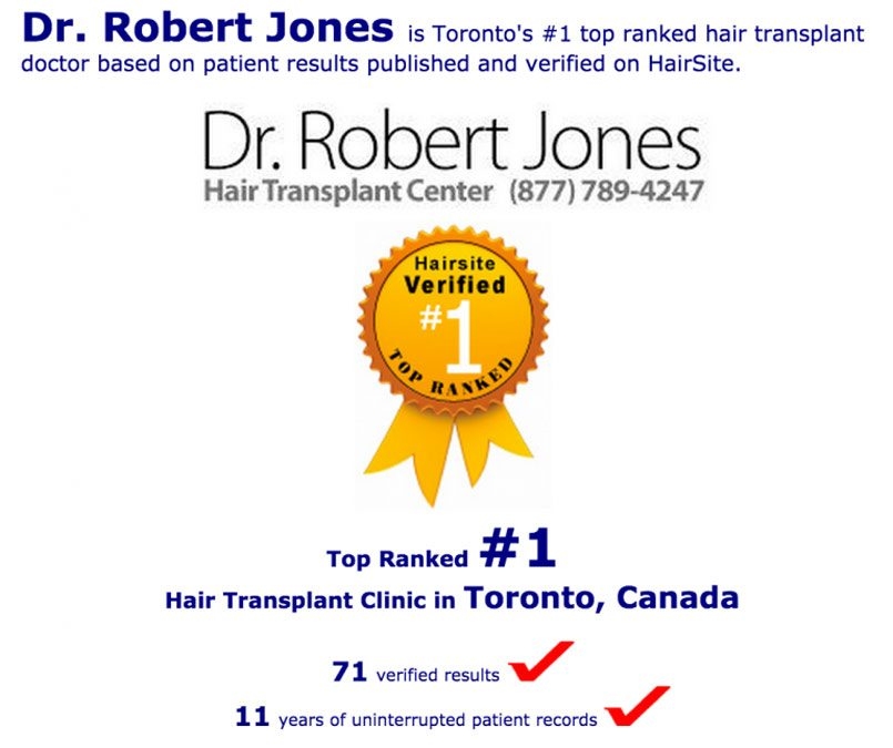 HairSite.com Recognizes Dr. Jones as #1 Hair Transplant Facility in Toronto