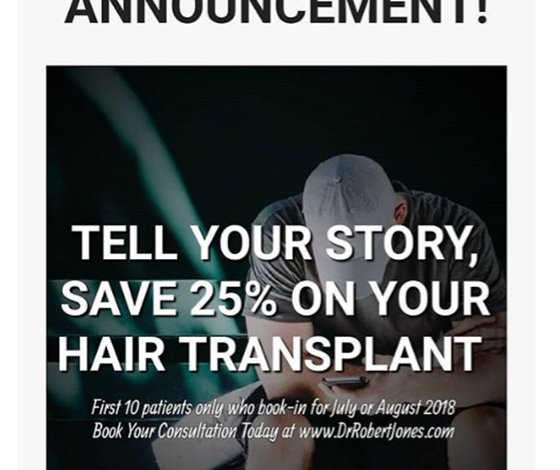 Share Your Story – Get 25% Off Your Hair Transplant